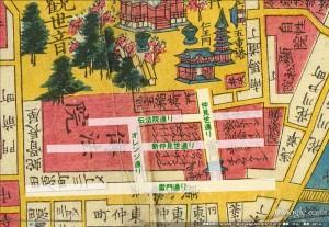 浅草周辺1858年-商店街位置